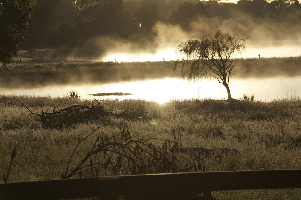 Early morning in winter - fog rising off the dams