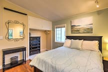 The fourth bedroom features an ocean theme and a queen-sized bed.