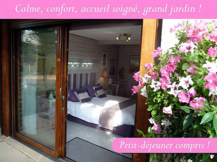 Chambre Jardin, plein-pied,  baie du Mt St Michel