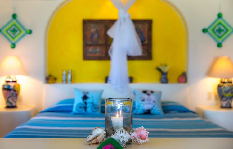 Our casitas have king size beds. You don't need to get out of bed to see the ocean!