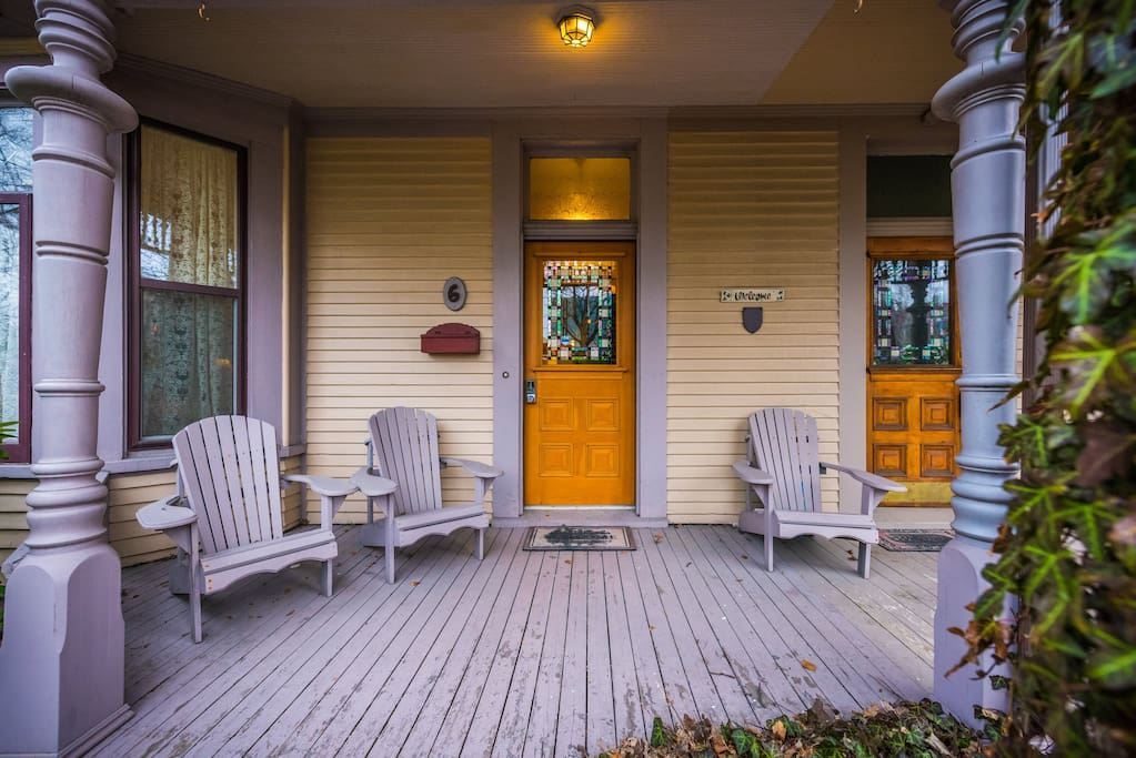The covered porch is a great place to unwind after a day of exploring.