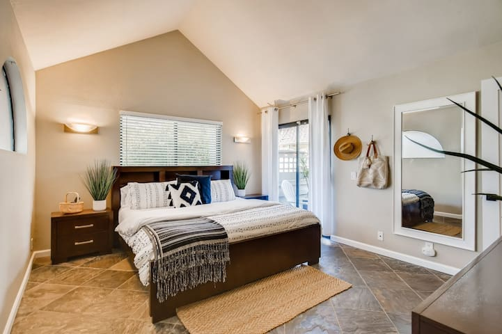Master Bedroom (King) with Private Patio Access.