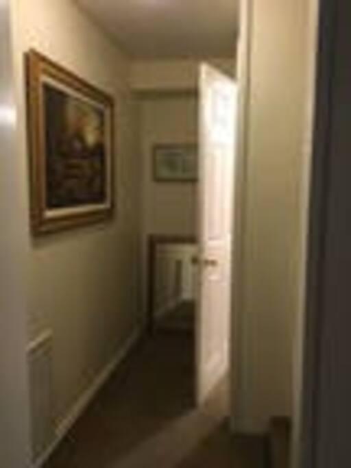 Hallway facing bathroom
