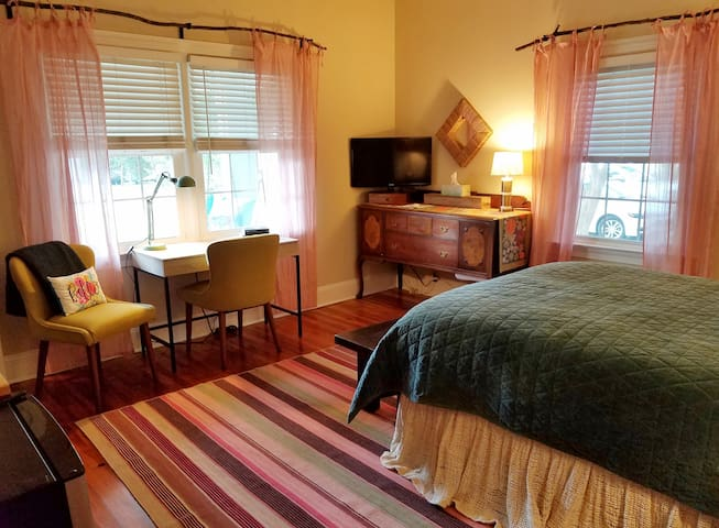 Look out to the front porch or the Historic Highland Mill Inn or the Smart T.V. with Direct Choice Pkg.