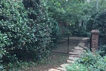 Stone Path from OFF-street Parking space in our driveway to Private Entrance located around back on our back deck.