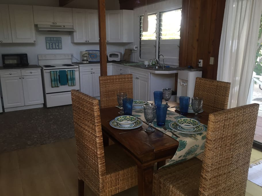 The downstairs kitchen and dining area.