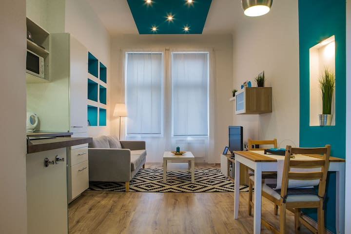 Blue Light Minimal Apartment