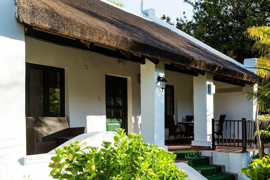 Second verandah overlooking the Drakenstein Mountains Zulema house Dekraal Estate
