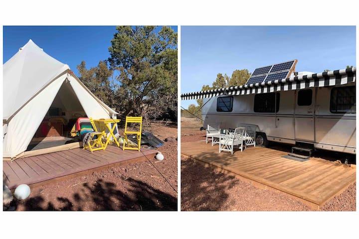 Invigorate campsite. Glamping tent & Trailer