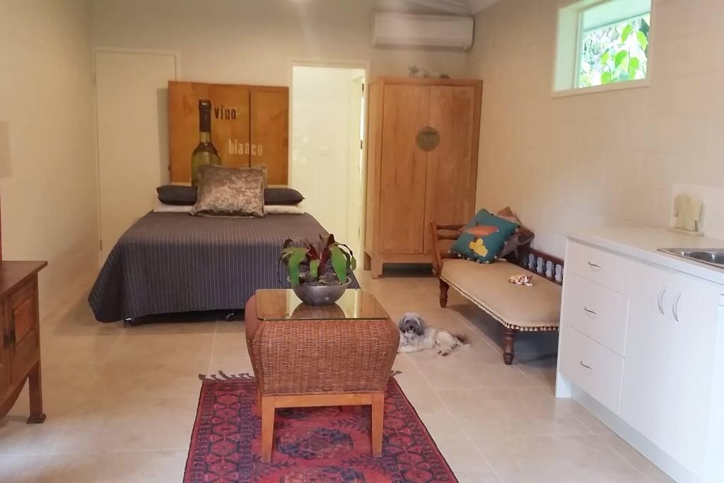 Bedroom, small kitchen & bathroom