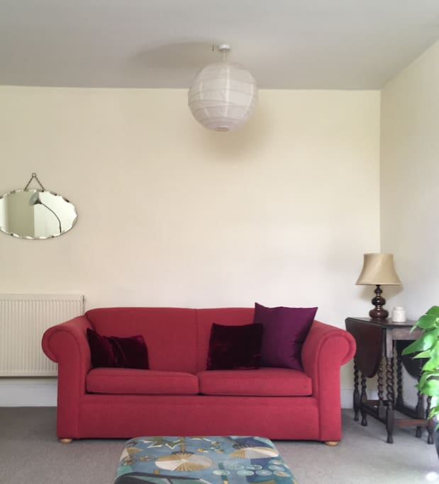 Sitting room has a double sofa bed for extra guests.