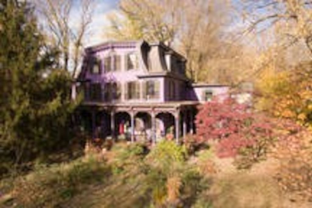 Make yourself comfortable at this enchanting Victorian home. After a wonderful day touring the beautiful Bucks County, PA and Hunterdon County, NJ region come explore the gardens, sit on the porch, and stoke a fire in the stone fire-pit, located on a joining wooded field behind the main house.