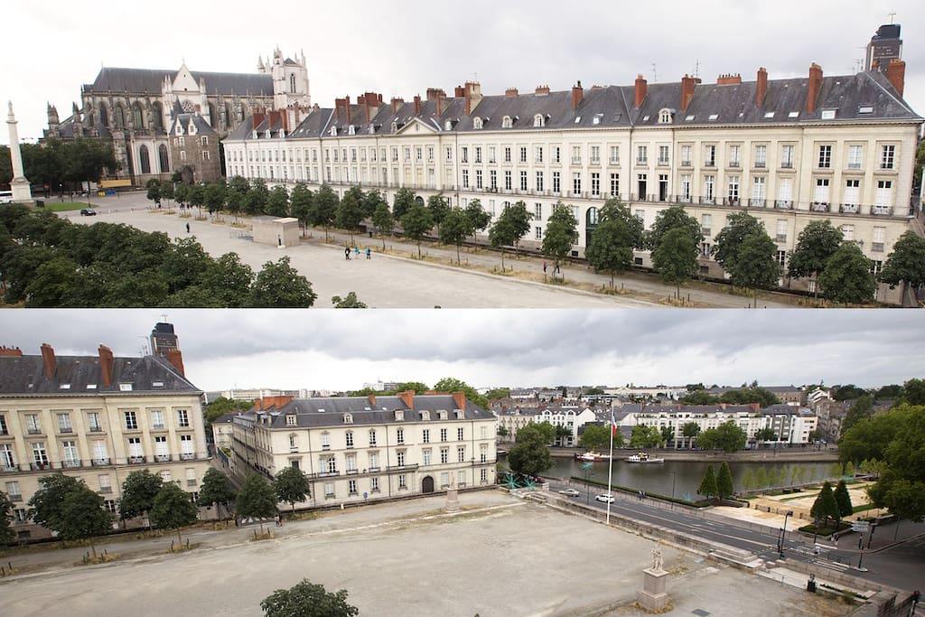 Vue sur la cathédrale, la cour saint André, la Tour de Bretagne, la Tour LU, et les bords de l'Erdre