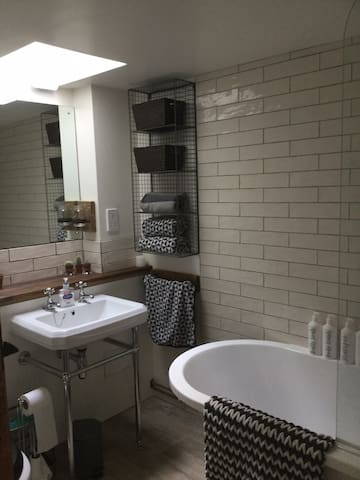 Bathroom with shower and bath.