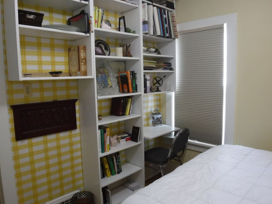 bookshelf in bedroom