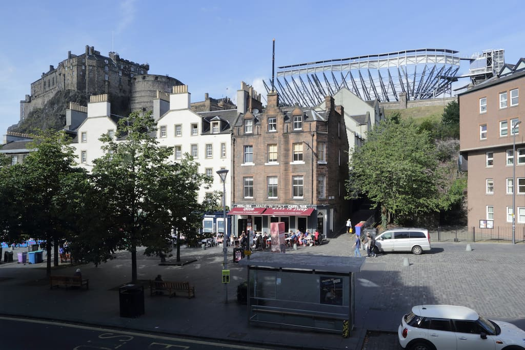 Stunning view of Edinburgh Castle and The Grassmarket from the Living Room and Bedroom