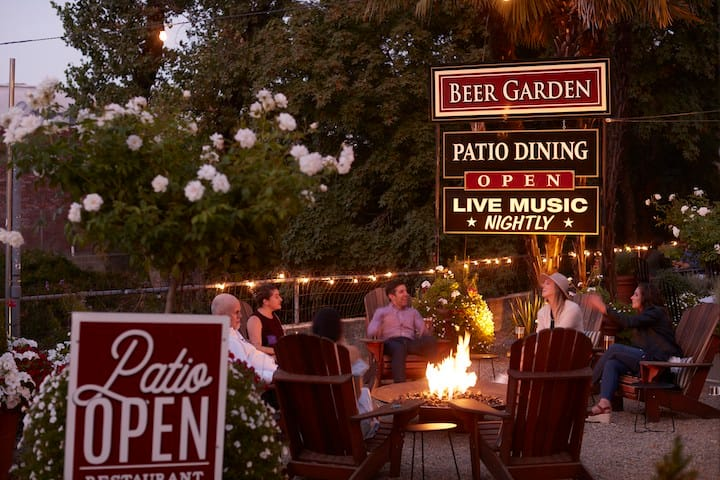 Enjoy a Room with a Brew - patio & craft beer