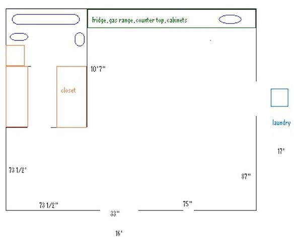 Studio floorplan (sink, tub, etc are not to scale but measurements are fairly accurate)