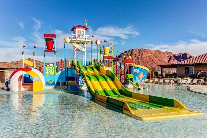 The water park IS OPEN!!!  You and your guests will have access to all of the amenities when you book this property.