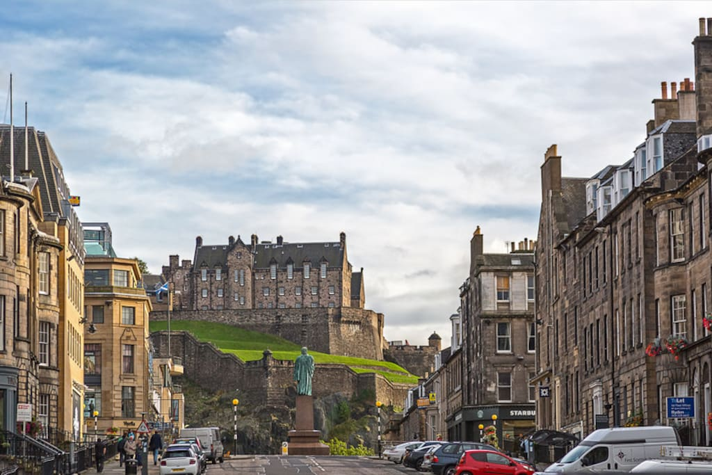 North Castle Street - the apartment is middle right and views of castle and the Firth of Forth from the living area