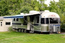 the airstream with the awning out.