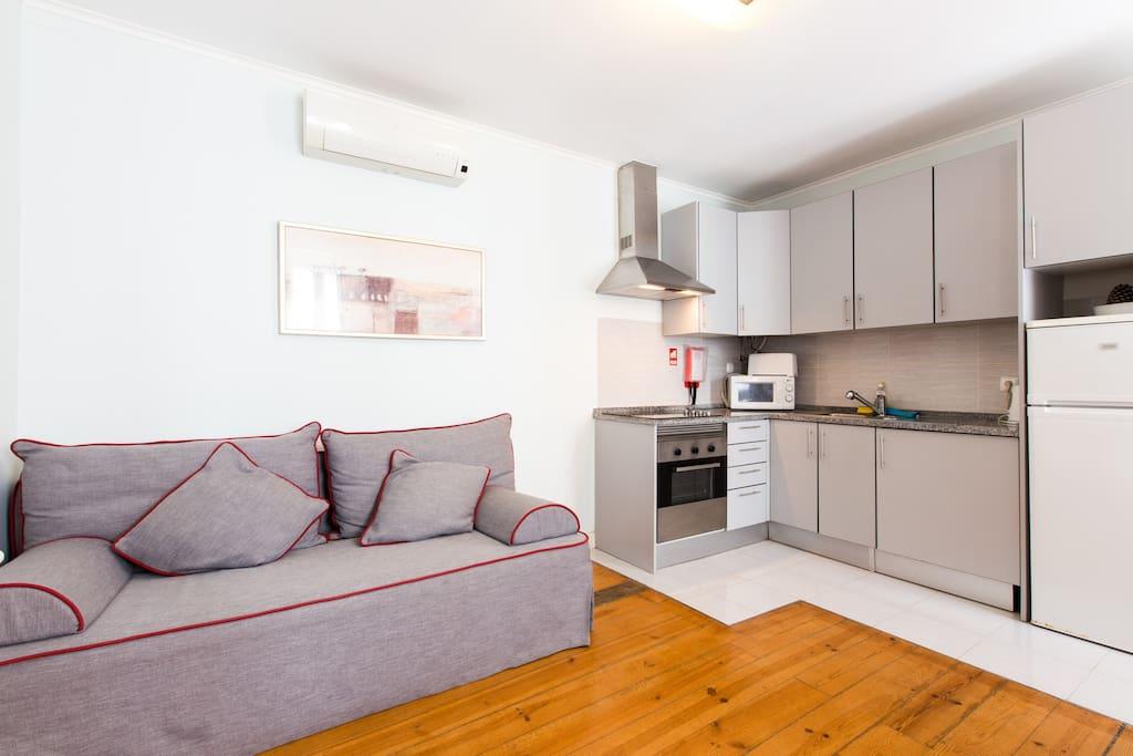 Sala de estar/jantar/Kitchennette e sofá cama