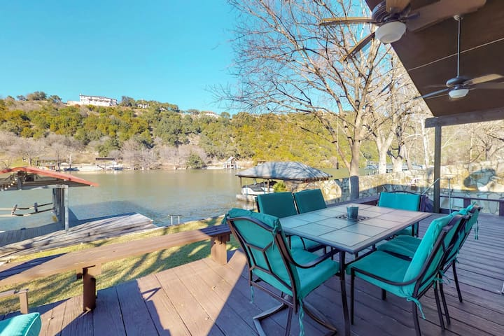 Chic riverfront home with private dock to the Colorado River!