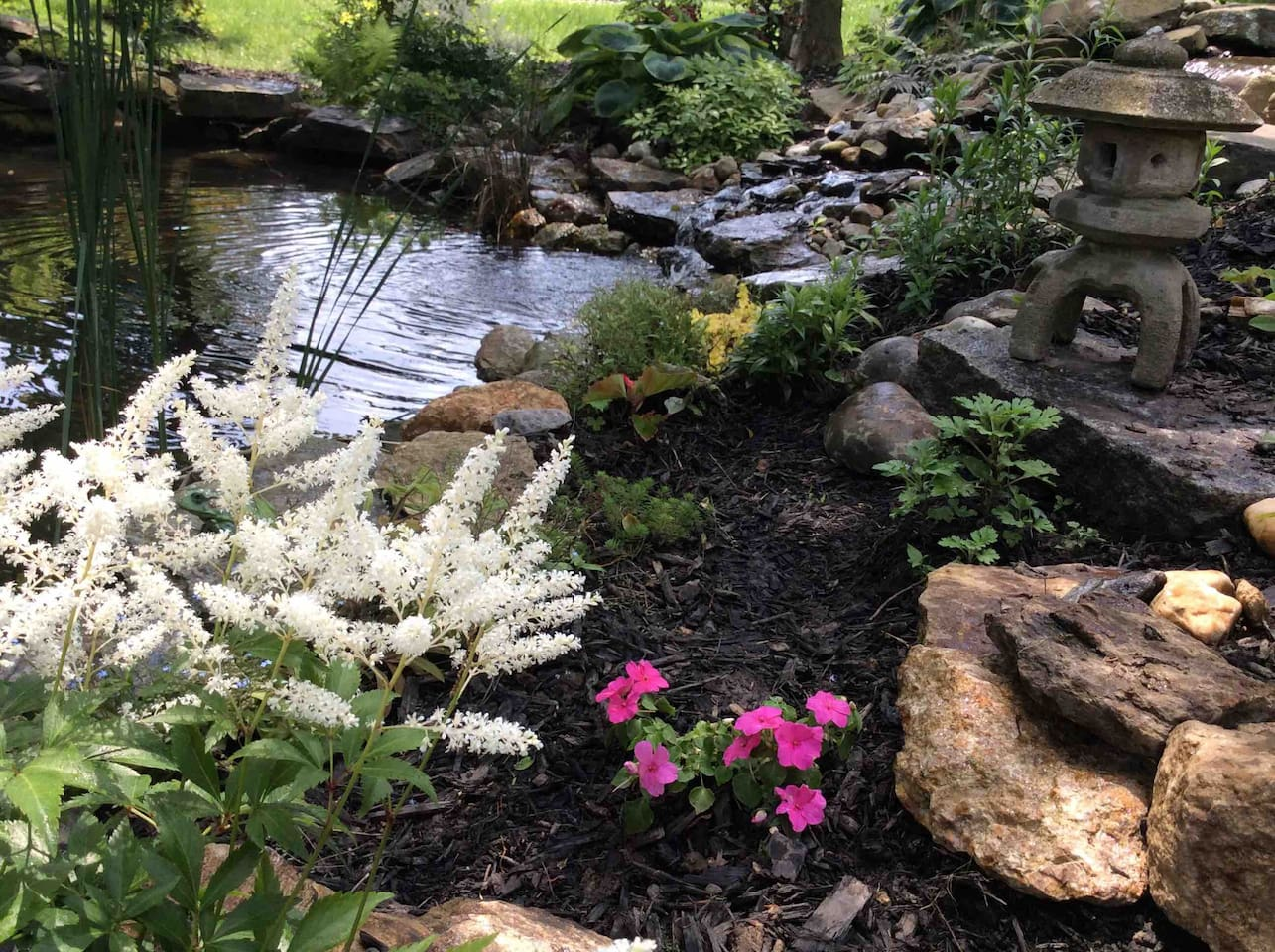 Private serene pond and waterfall