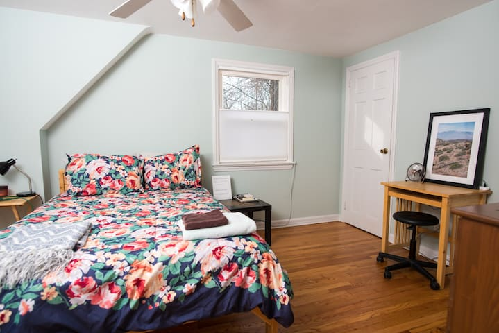 Large bedroom, full-bed, dresser, desk and closet; queen air bed also available.