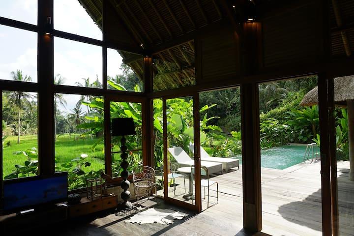 HEAVEN- family villa w.pool in pure rice-fields!