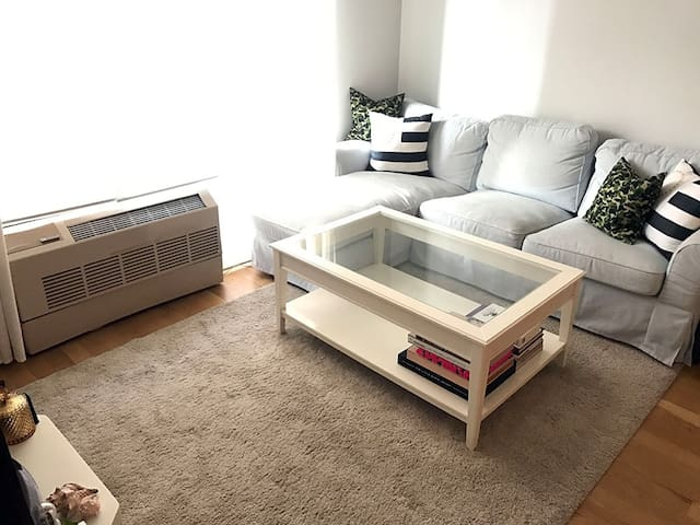 A large confortable couch/TV