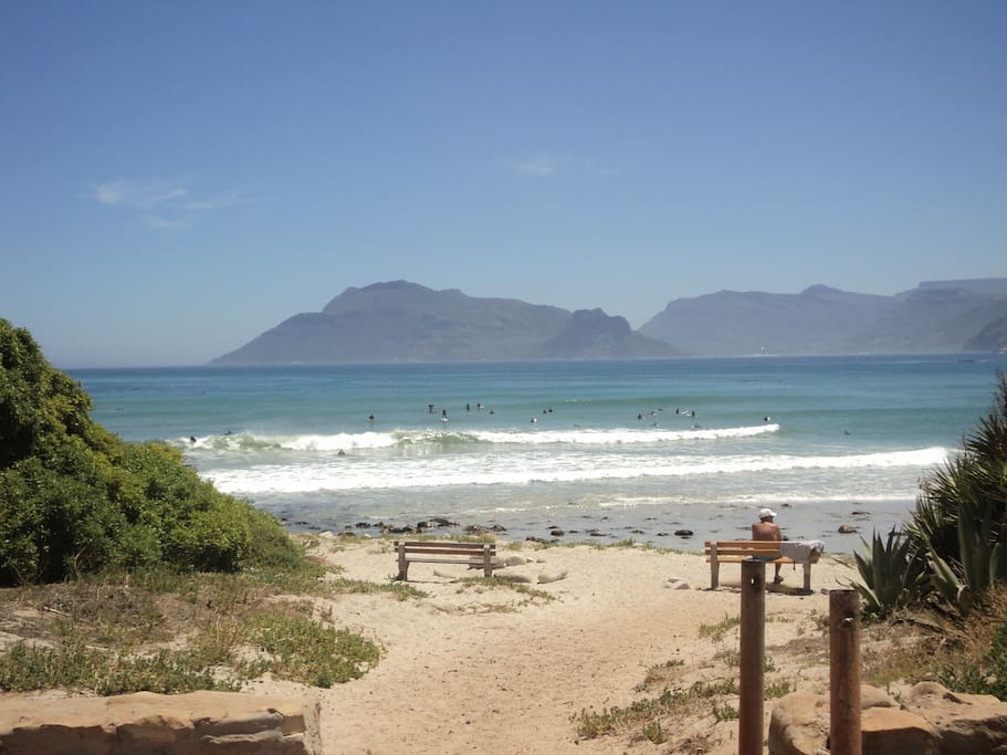 View from Kommetjie beach to Hout Bay across the sea
