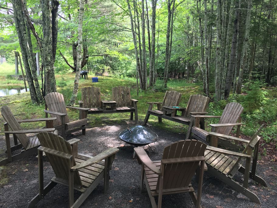 The fire pit area by the pond on our property