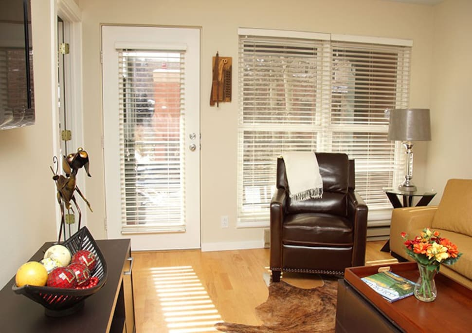 A great condo for winter or summer trips, with a comfortable living room