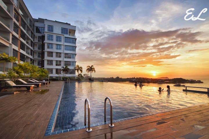 Elegant Suites@Pelagos Oceanus Waterfront KK#城市中心