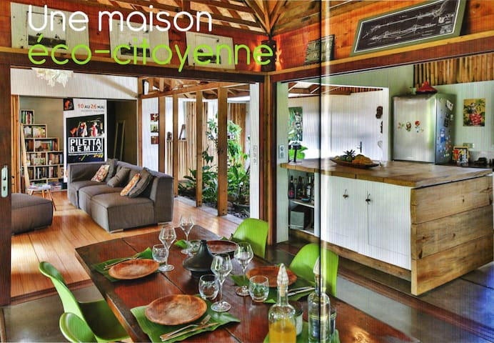 Open Polynesian house near the lagoon