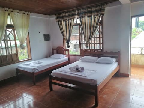 Double and single with Balcony and bathroom
