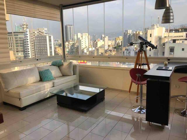 Beirut Badaro Bright skyline rooftop