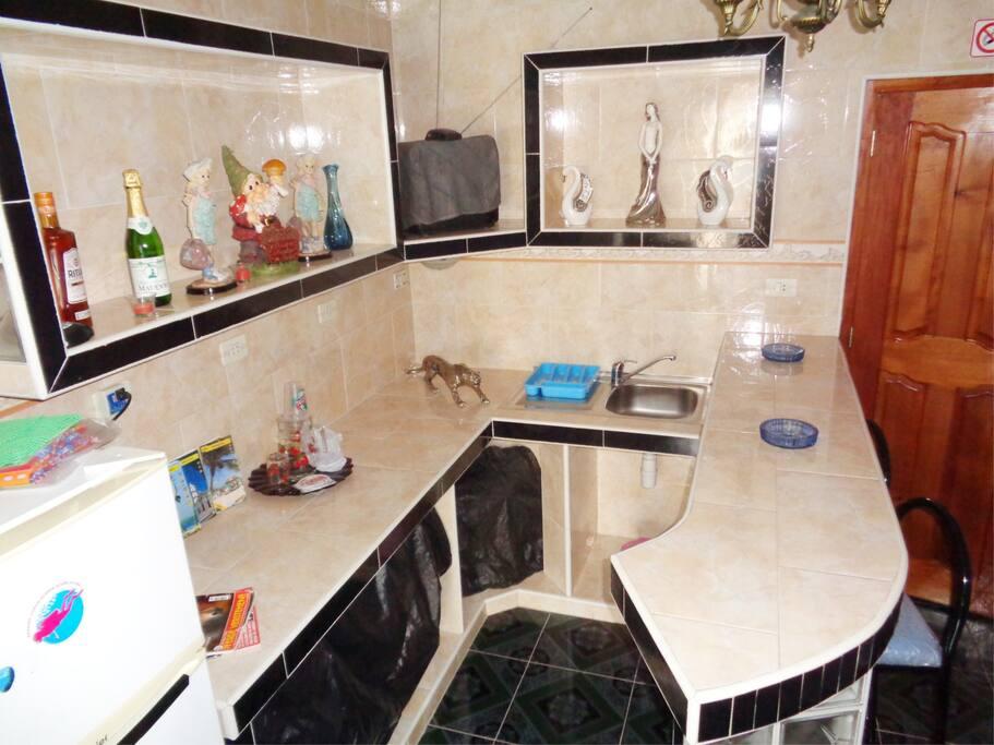 Kitchen of the room, decorates to please the guests, with a refrigerator. Cocina de la habitación independiente decorada para agradar a los huéspedes, con refrigerador incluido.