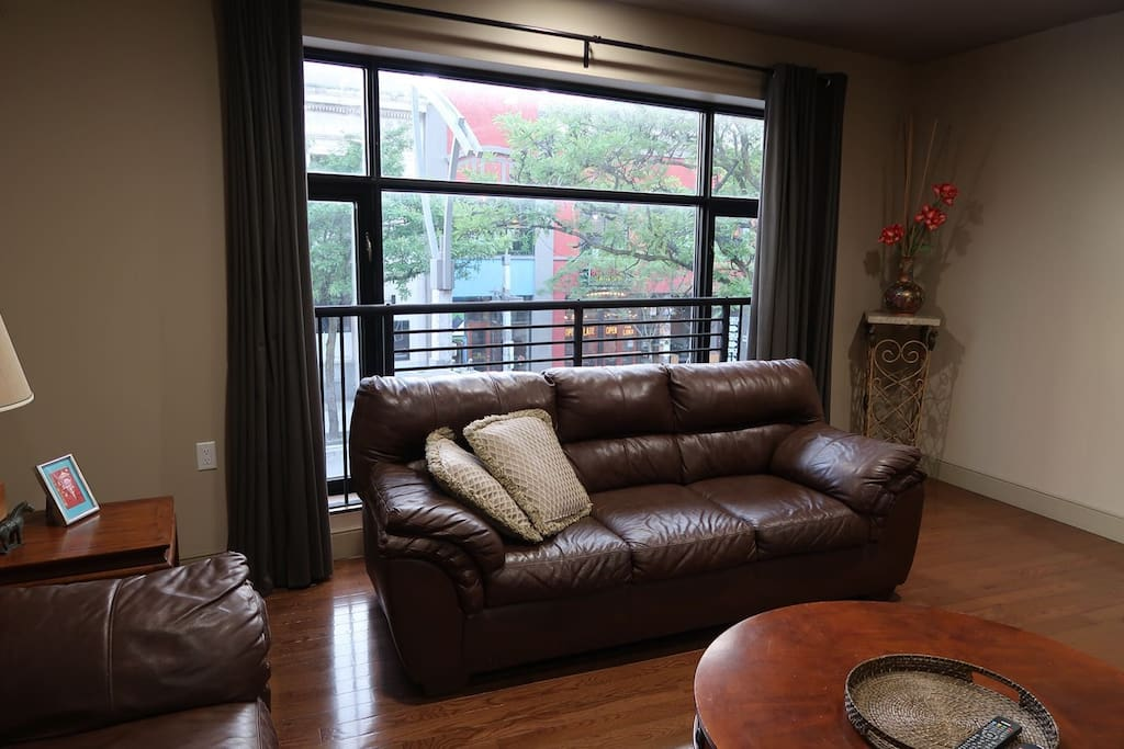 Beautiful large windows overlooking the heart of Ouellette Ave