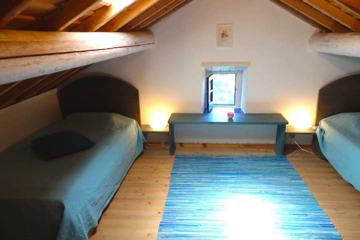 room under the roof with two separate beds