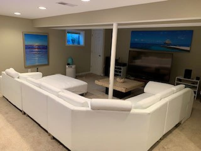 Pool Table and bar with spacious TV area