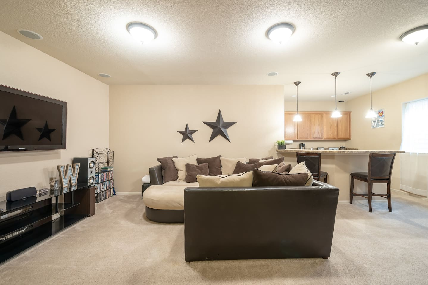 living room and kitchen, small dining room area . Your entire private space