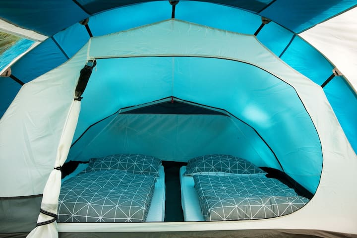 Interior of rental tent for two persons.