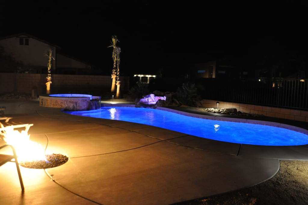 Programmable lighting.  Gas fire pit.