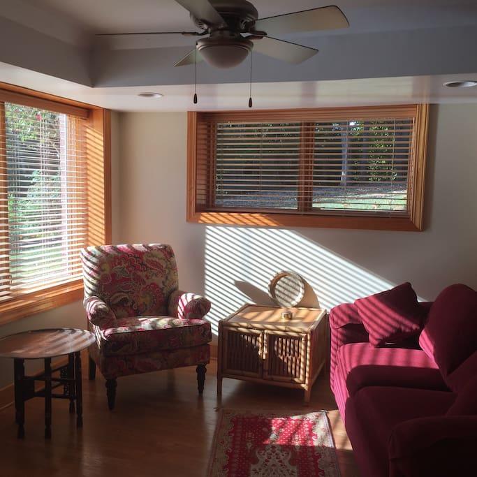 Morning sun streams into living room