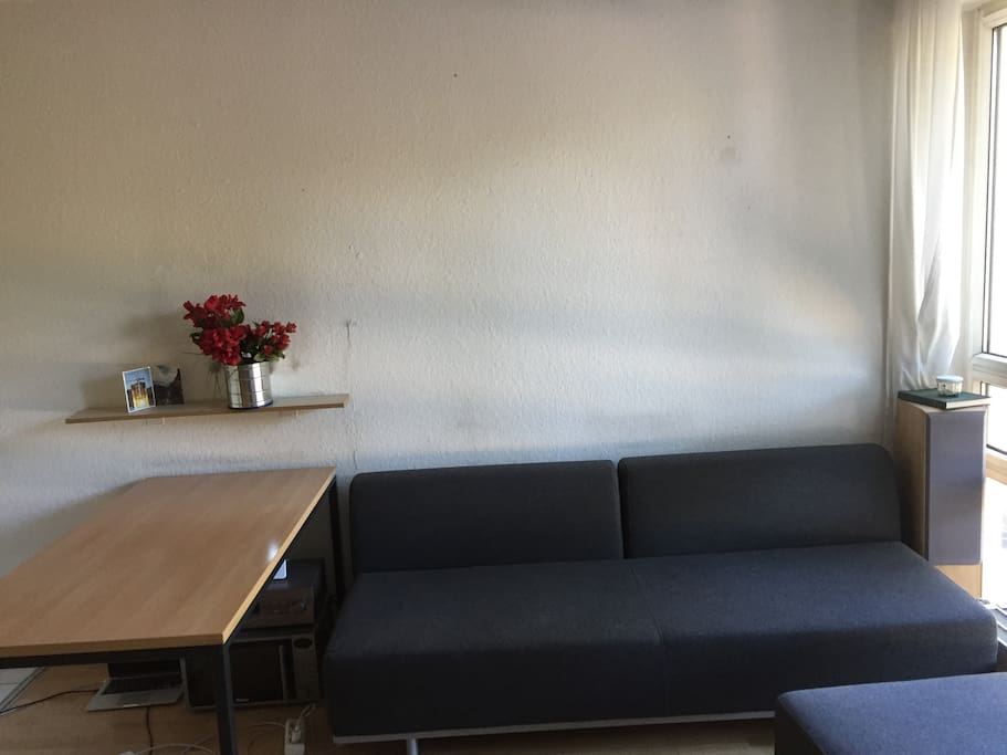 Couch and desk next to window