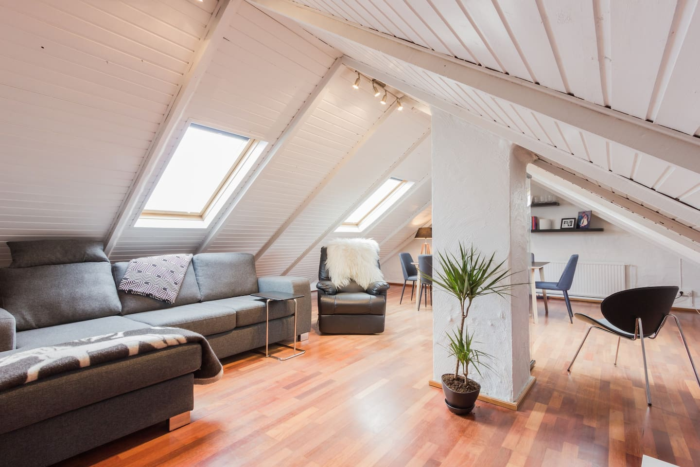 Spacious loft with sofa, smart tv and dining table.  Here is very cozy to relax after a good day of exploring