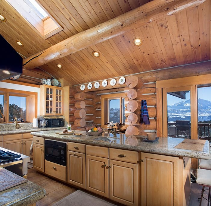 Gourmet kitchen with incredible views and breakfast nook