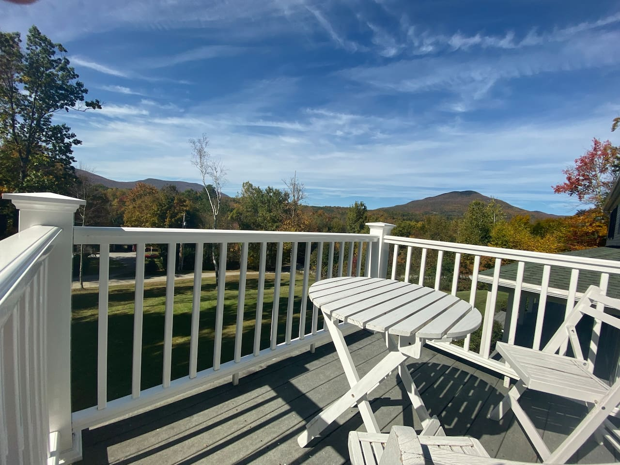 Panoramic view of Mt. Equinox, Little Equinox, and Mt. Aeolus from the private balcony